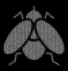 White halftone fly insect icon vector