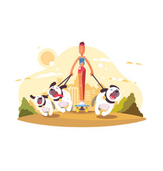 Woman on skate walking with dogs vector