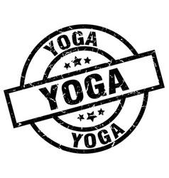 Yoga round grunge black stamp vector