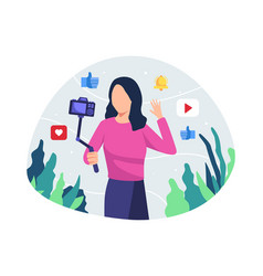 young woman vlogger vector image