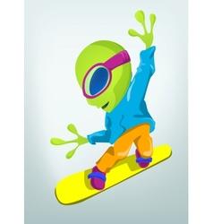 Cartoon Alien Snowboard vector image vector image