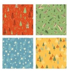 Christmas doodle pattern set vector image
