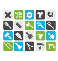 Silhouette construction tools object icons vector