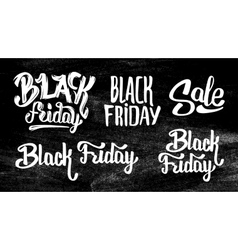 Black Friday Sale stickers set on black chalkboard vector image