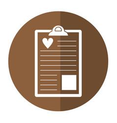 clipboard heart report shado vector image