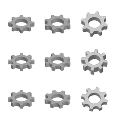 Gear icon set in 3d style vector image vector image