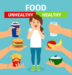 healthy and unhealthy food choice vector image