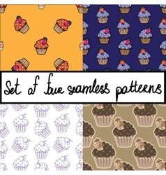 Seamless background set with cupcakes vector image vector image