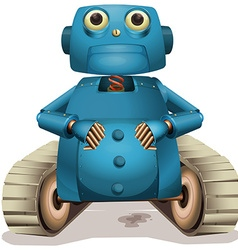 Blue robot with wheels vector