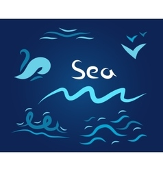 night set the wave sea vector image