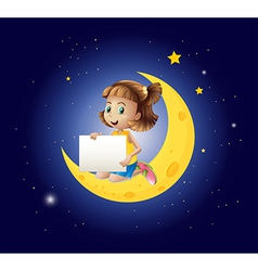 A girl above the moon with an empty signboard vector image