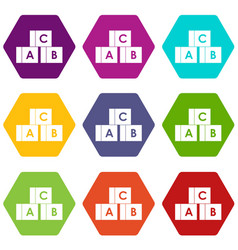 alphabet cubes with letters abc icon set color vector image vector image