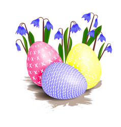 easter flower and eggs vector image vector image