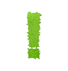 Exclamation sign consisting of green leaves vector image