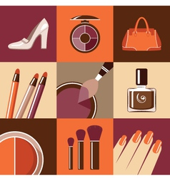 Flat round icons with makeup and accessories vector image