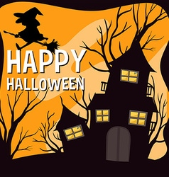 Halloween theme with witch and haunted house vector image vector image