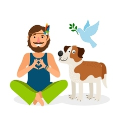 Hippie Peace Man with Dog vector image vector image