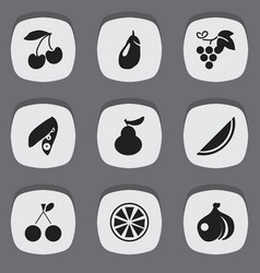 set of 9 editable berry icons includes symbols vector image vector image