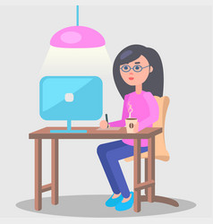 woman works in office at computer vector image vector image
