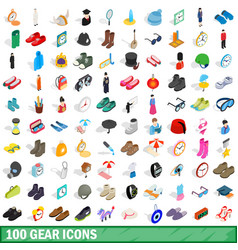 100 gear icons set isometric 3d style vector image