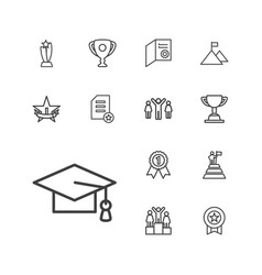 13 achievement icons vector