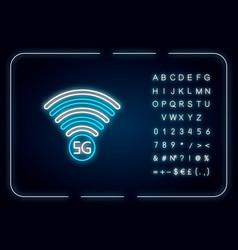 5g signal indicator neon light icon internet vector