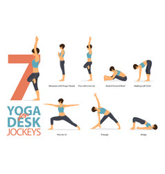 7 yoga poses for workout in desk jockey concept vector