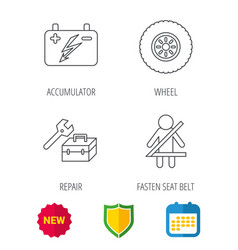 accumulator wheel and car service icons vector image