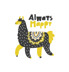 Always happy lama vector