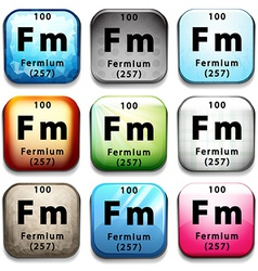 An icon showing the chemical fermium vector