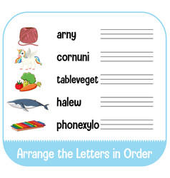 arrange letters in order with pictures vector image