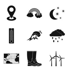 Atmospheric icons set simple style vector