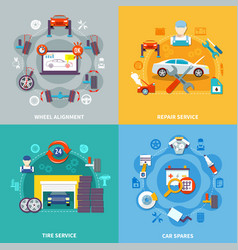 auto service 2x2 design concept vector image