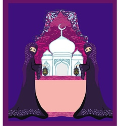 beautiful muslim women on mosque background vector image
