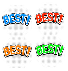 best signs in comic book style colored set vector image