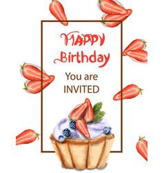 birthday cupcake invitation card watercolor vector image
