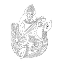 Black and white drawing of indian hindu goddess vector