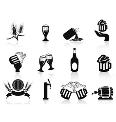 Black beer icons set vector