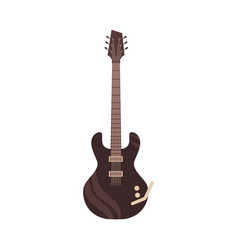 black electric guitar classic rock icon vector image