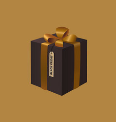 black friday gift box with a gold ribbon bow vector image