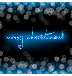 Blue Christmas Card With Bokeh vector image