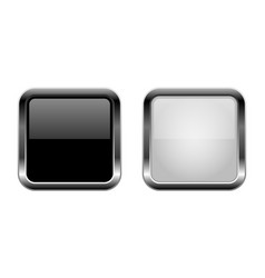 Buttons black and white glass square 3d icons vector