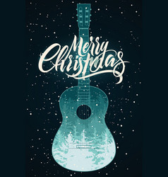calligraphic christmas card with guitar vector image