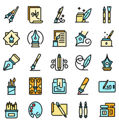 Calligraphy tools icons set flat vector