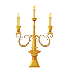 Candelabrum with three candles icon cartoon style vector