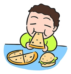 Cartoon boy is eating pizza isolated stock vector