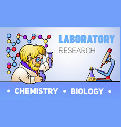 chemistry biology concept banner cartoon style vector image