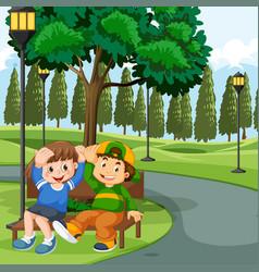 Children sitting on park bench vector