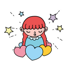 color beauty girl child with hearts and stars vector image