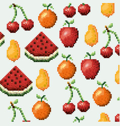 Color pixelated pattern set collection fruits vector